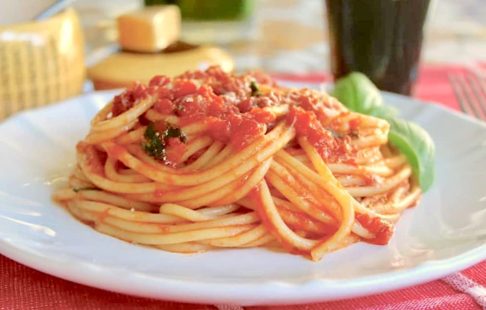 pasta with chunky sauce