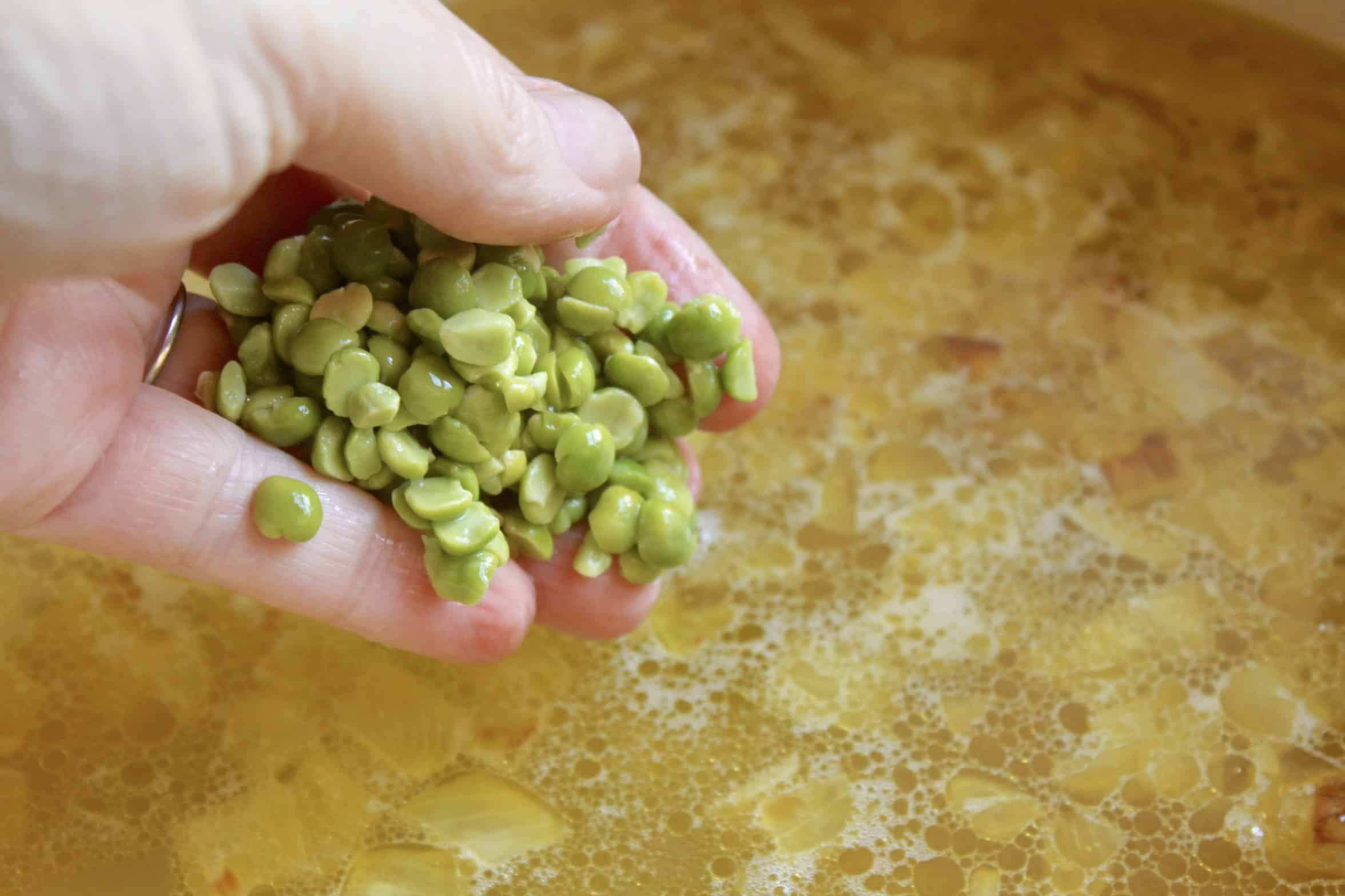 adding the split peas