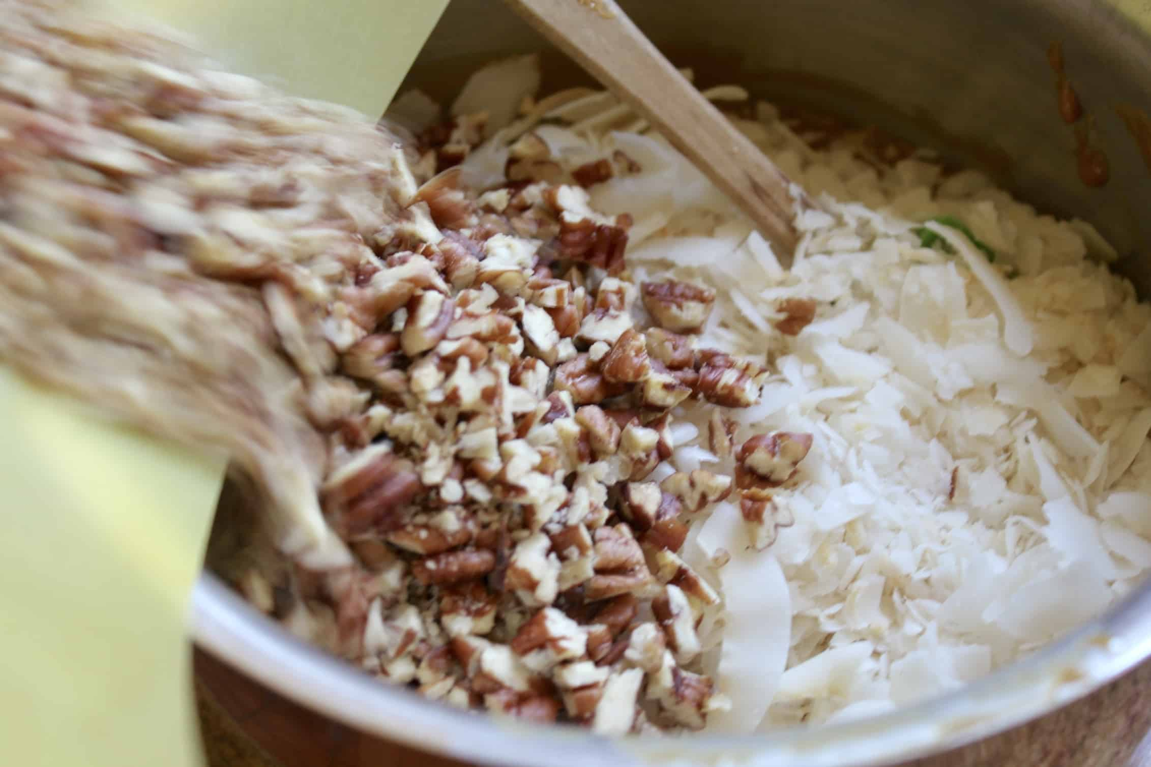 adding nuts to the pot
