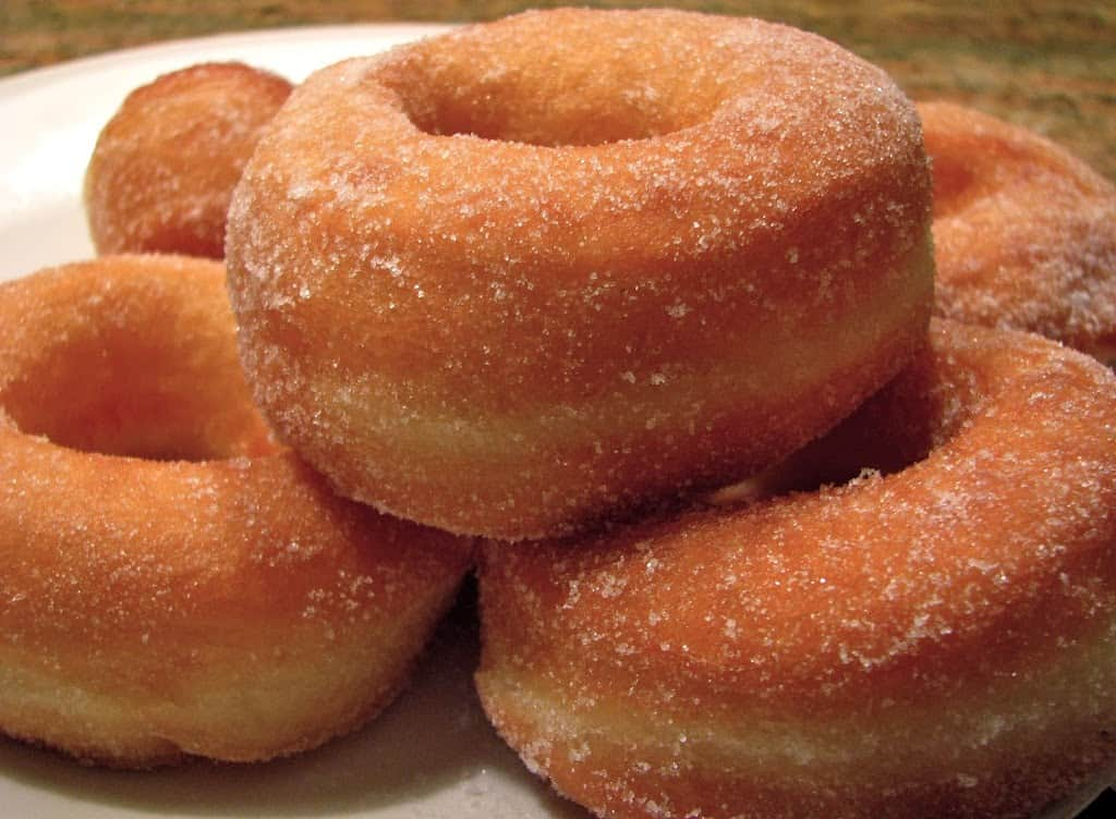 Perfect Yeast Doughnuts on a plate