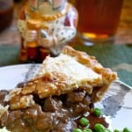 Steak Pie with Peas, Mashed Potatoes and Gravy
