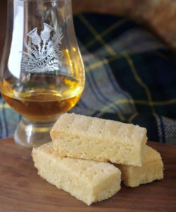 shortbread fingers with a glass of Scotch whisky