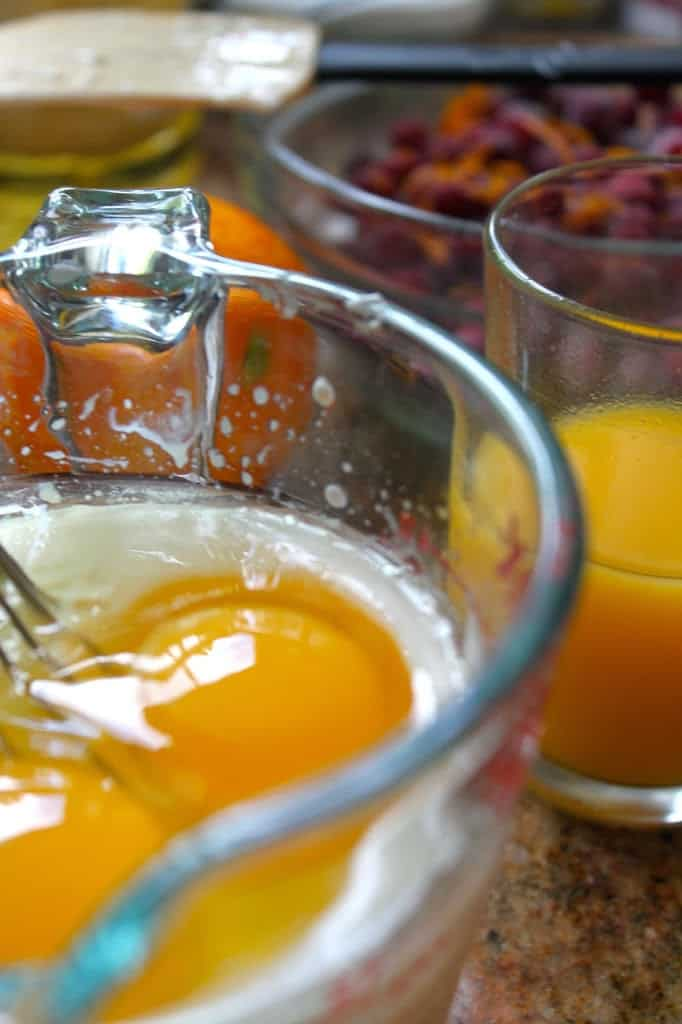Making Cranberry and Orange Yogurt Muffins
