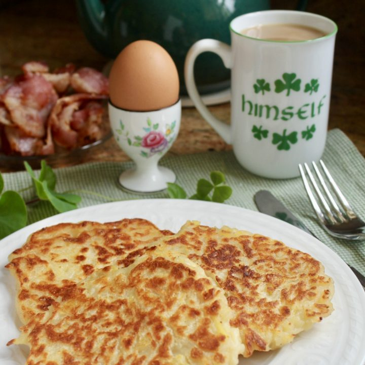 traditional Irish boxty for breakfast with tea