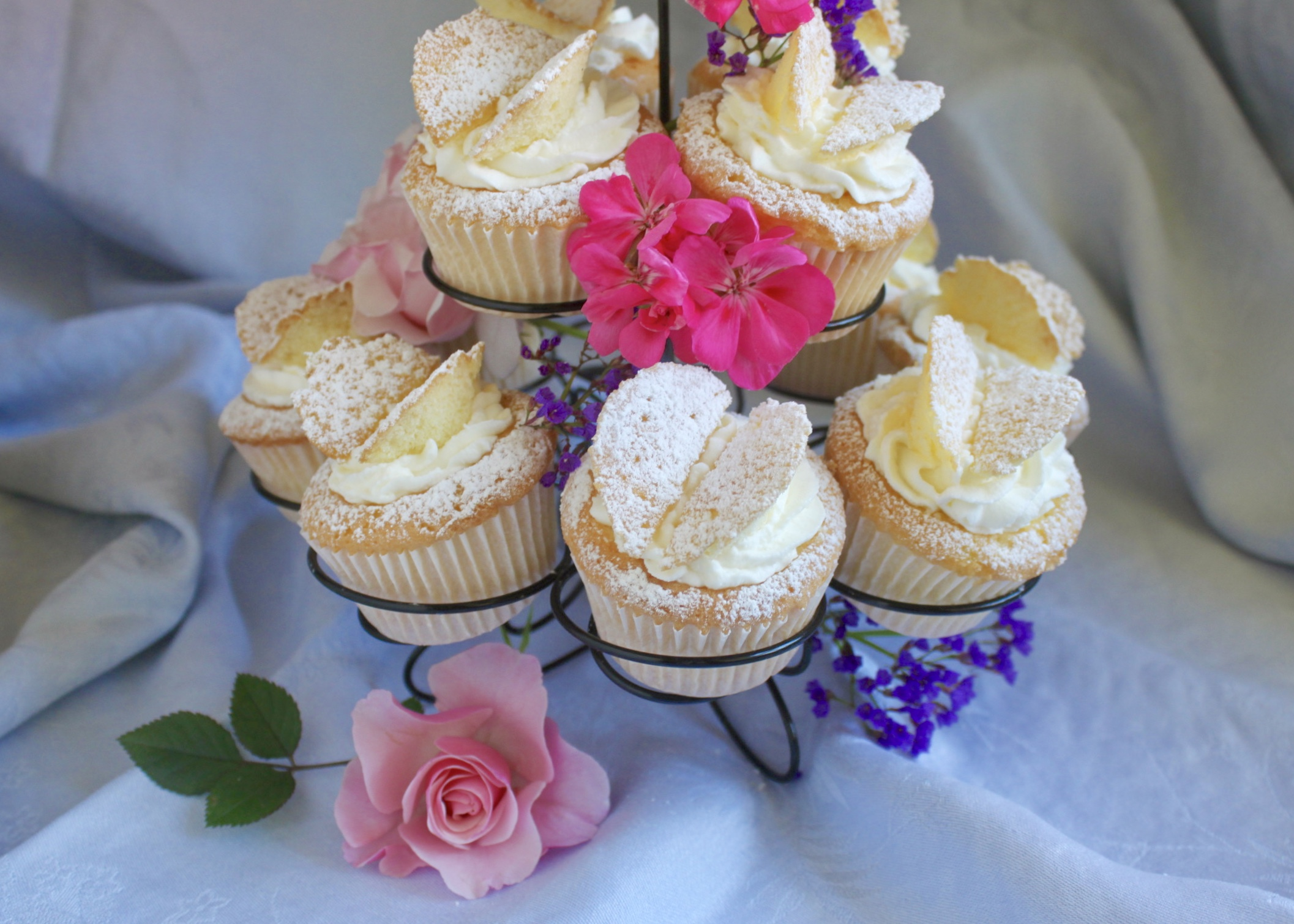 butterfly cupcakes on stand