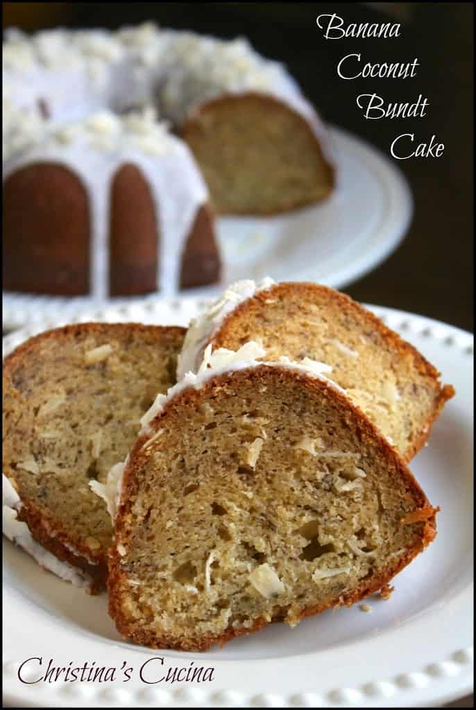 Banana Coconut Bundt Cake with Coconut Icing - Christina's Cucina