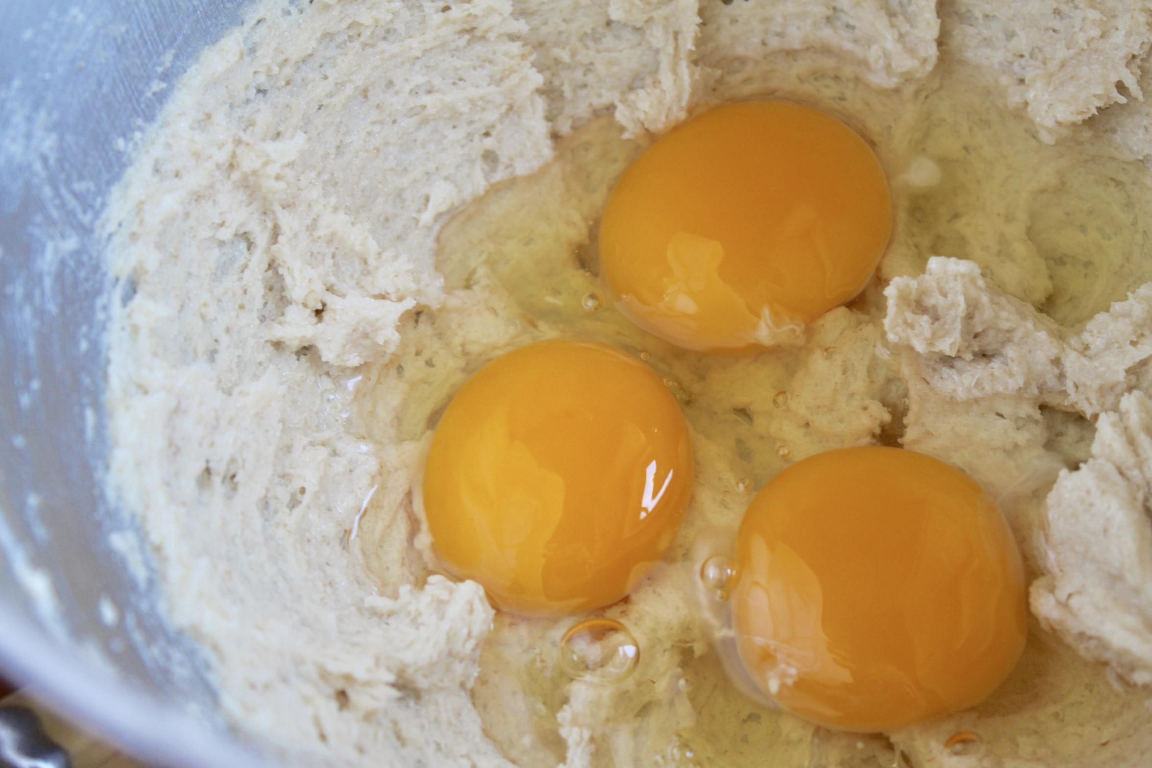 making banana coconut bundt cake