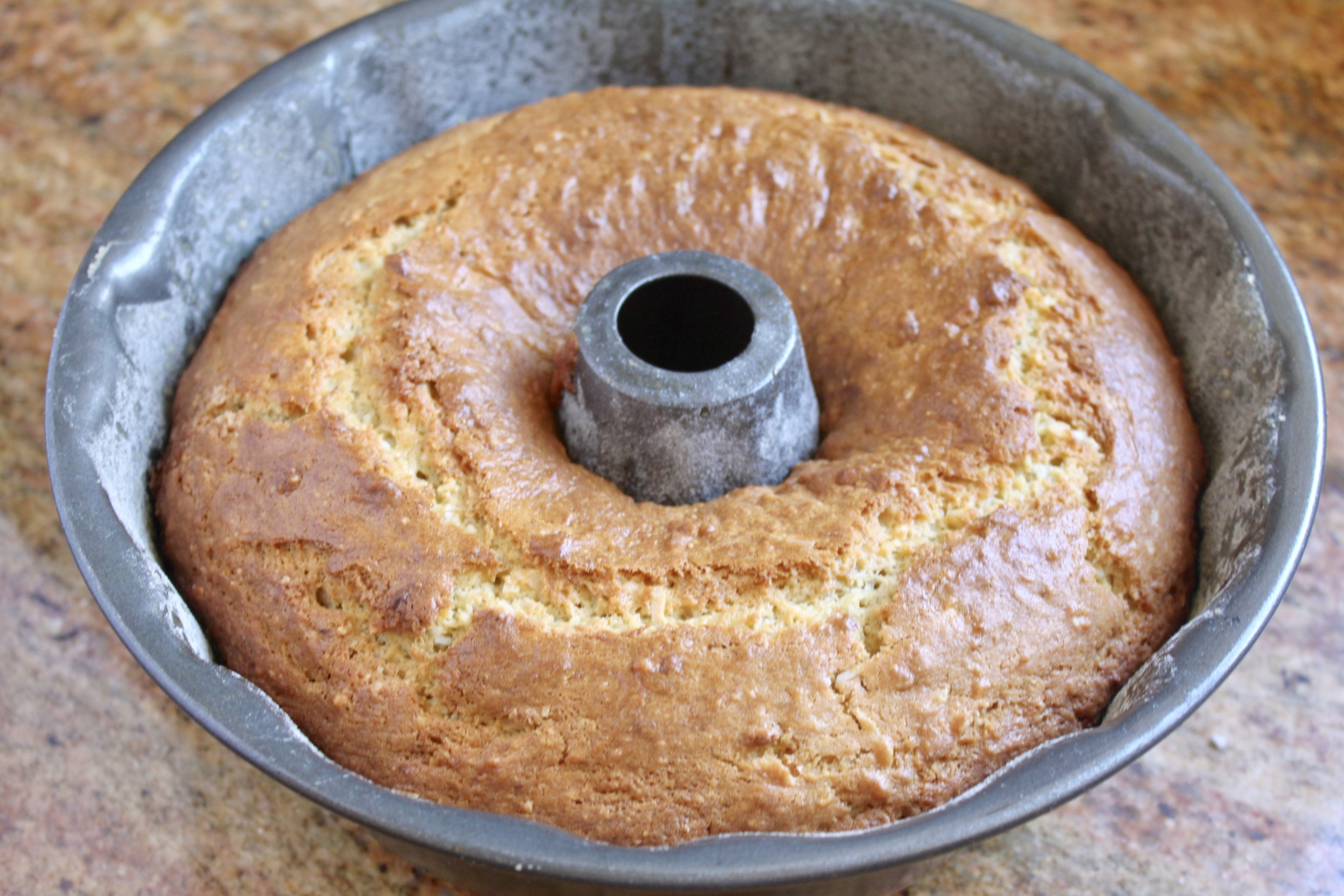 cake out of the oven in the bundt pan