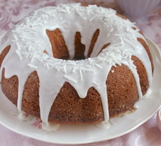 banana coconut bundt cake on plate