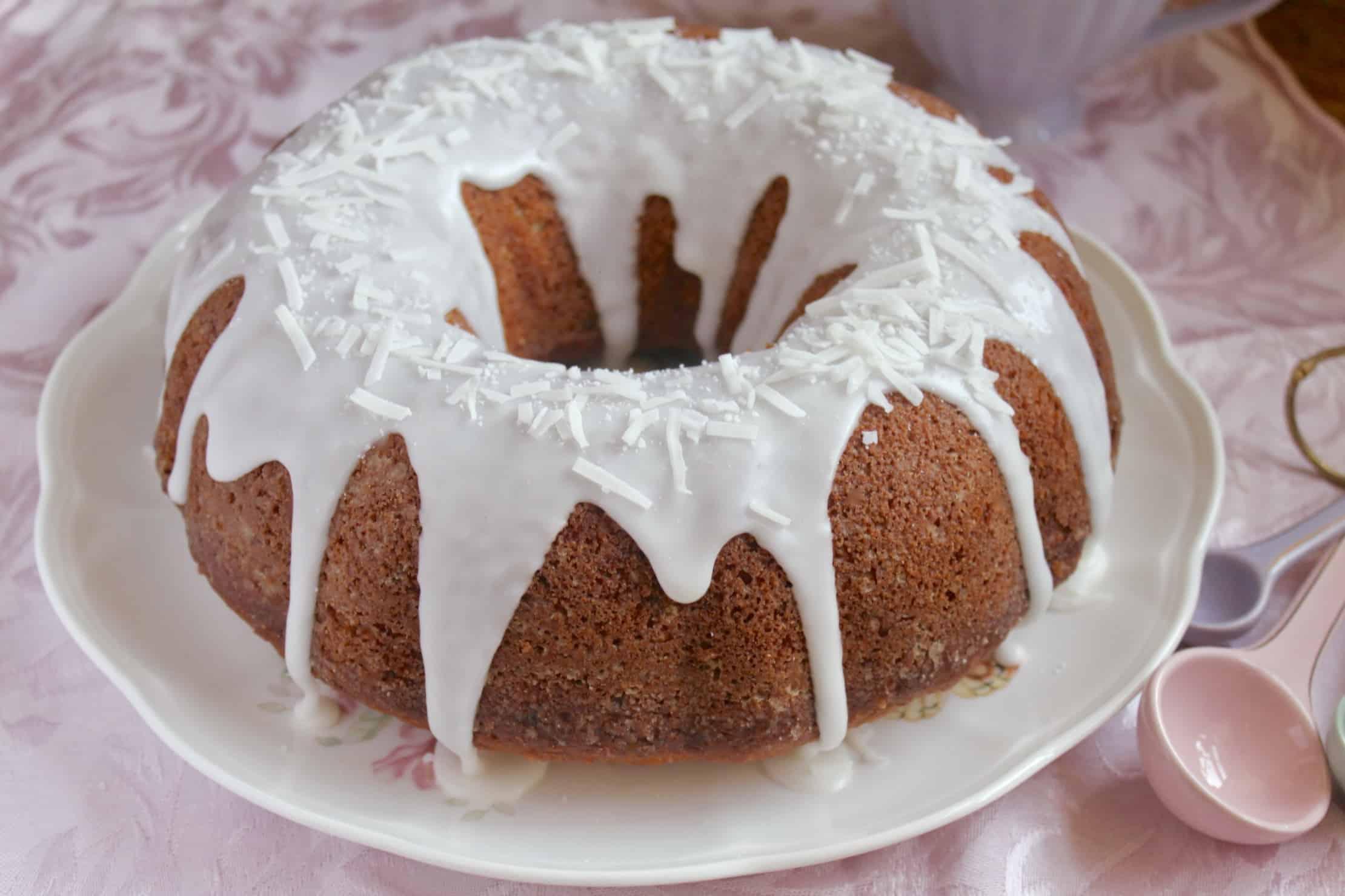banana coconut bundt cake on plate