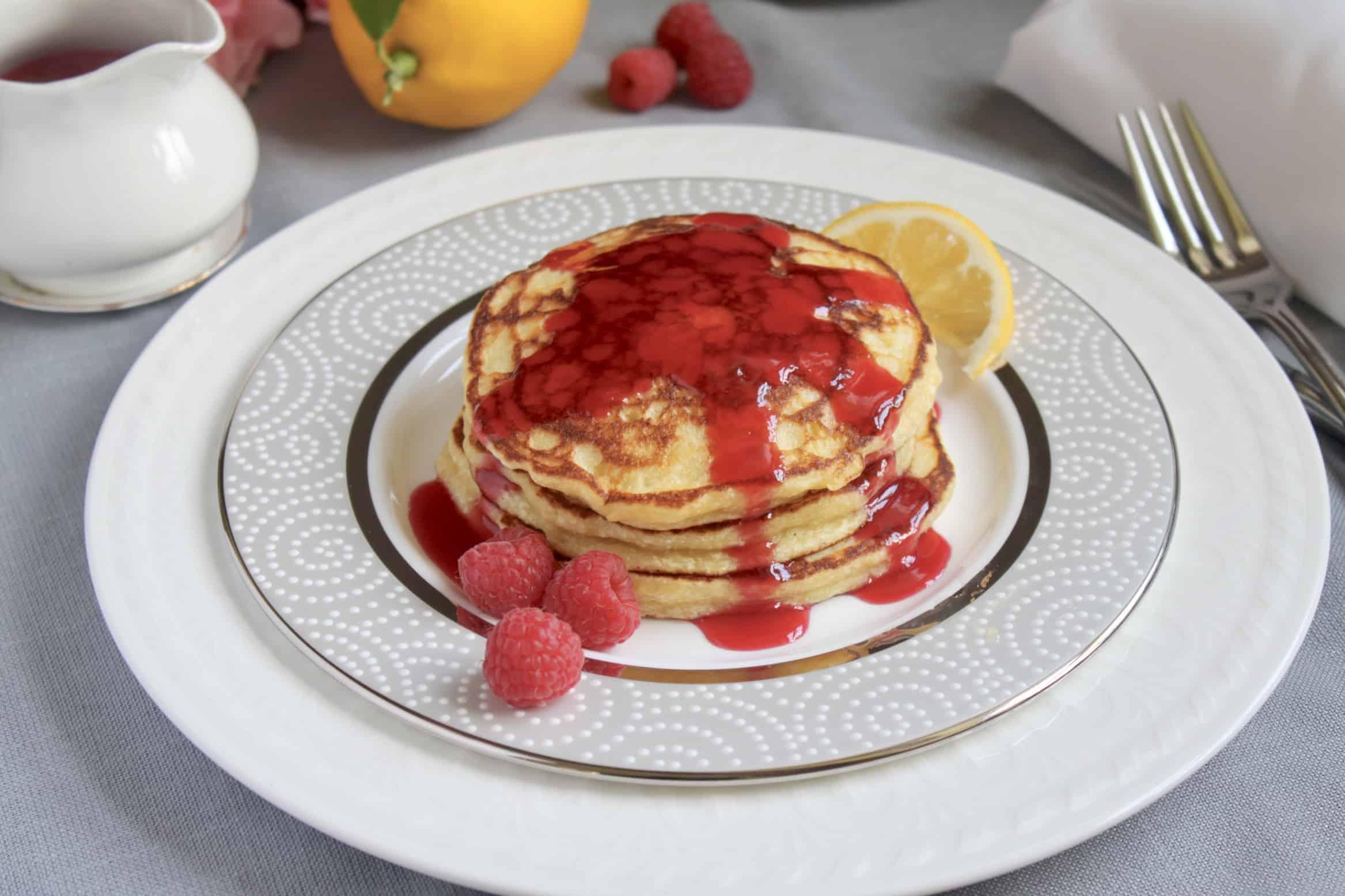 place setting with lemon ricotta pancakes