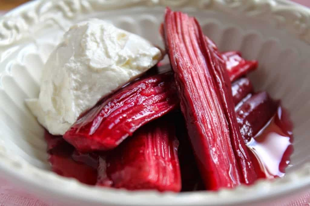 baked rhubarb with creme fraiche mascarpone or s cucina