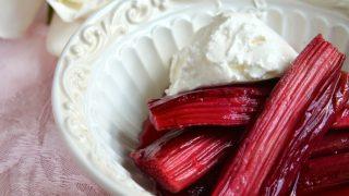 Baked Rhubarb with Creme Fraiche, Mascarpone or Whipped Cream