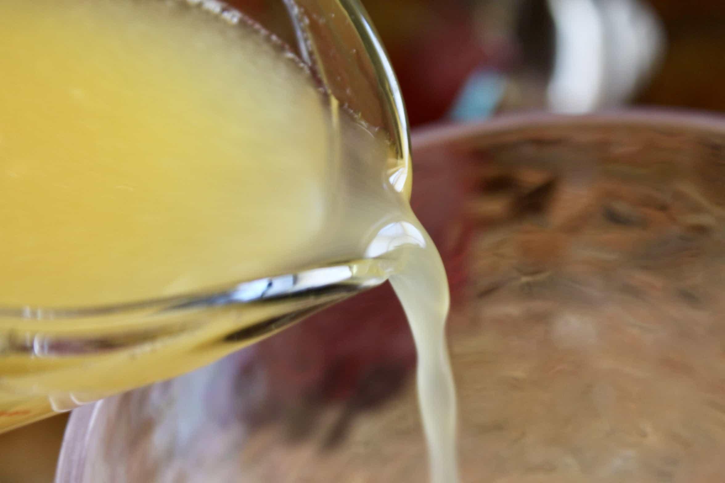 pouring lemon juice
