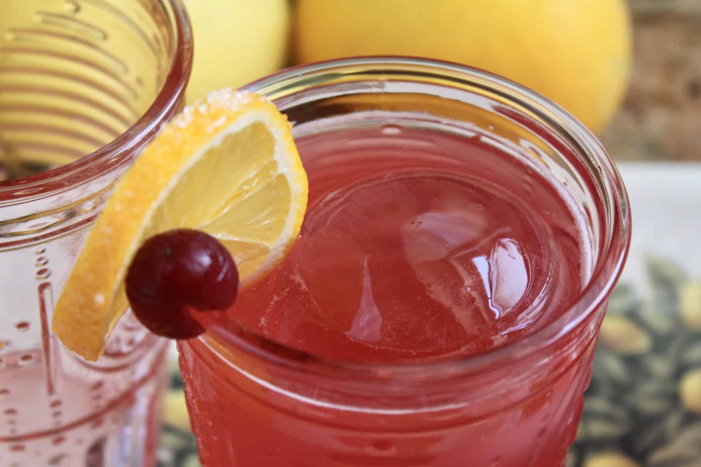 lemon slice and cranberry on rim of glass