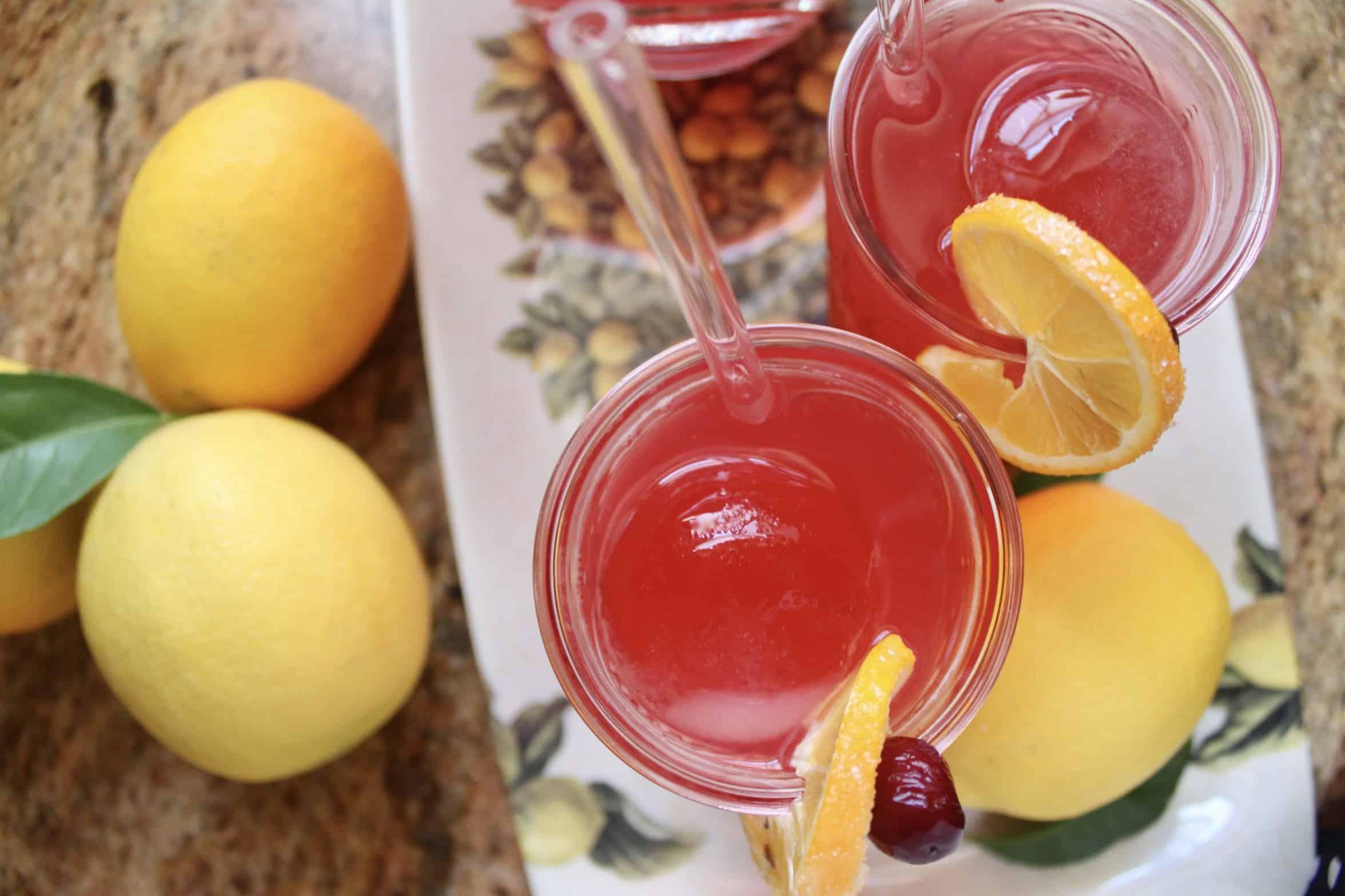 overhead cranberry lemonade