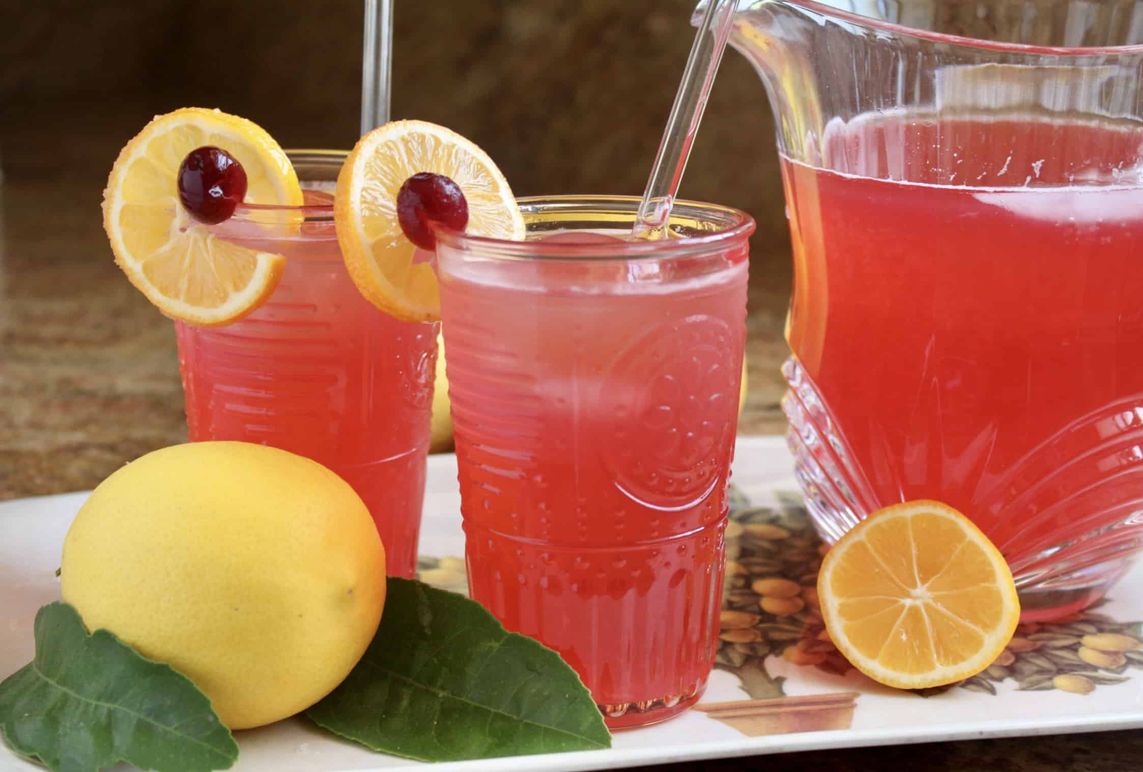 cranberry lemonade with glass straws