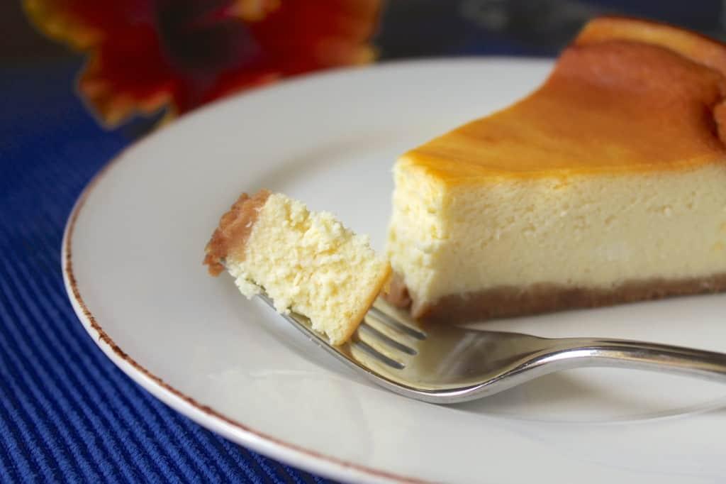 Limoncello Cheesecake on a fork
