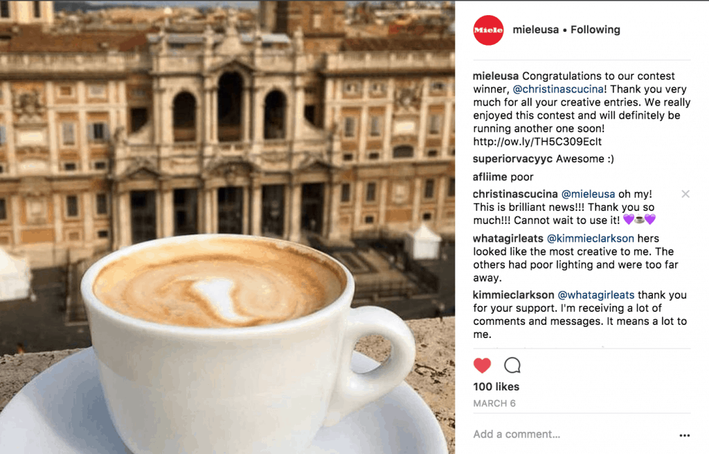 Miele Instagram coffee contest