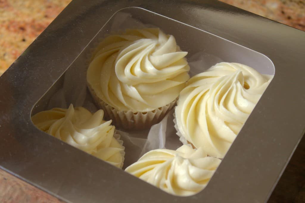 White Russian Cupcakes with Vodka buttercream in a box