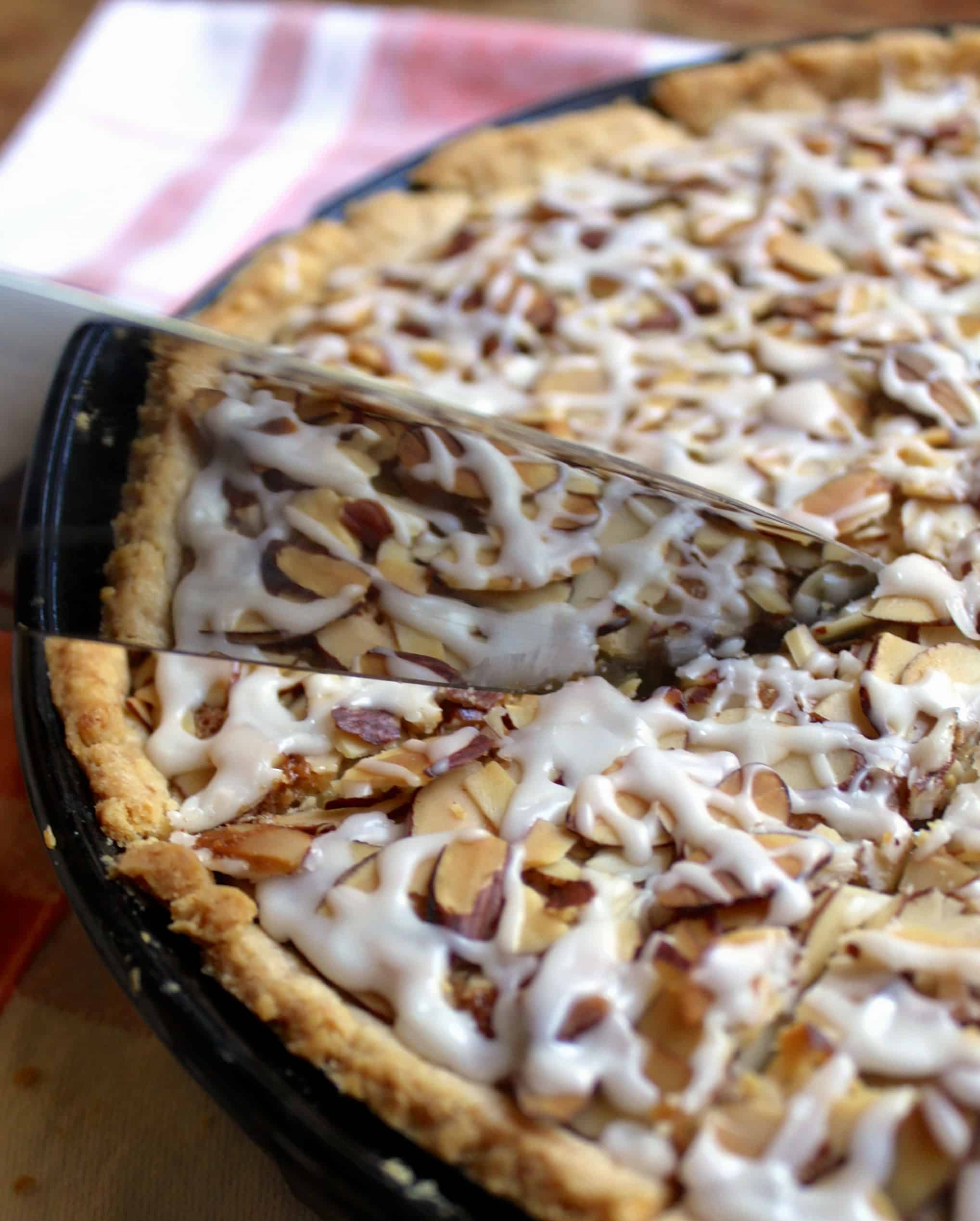 Cutting Mary Berry's Bakewell tart