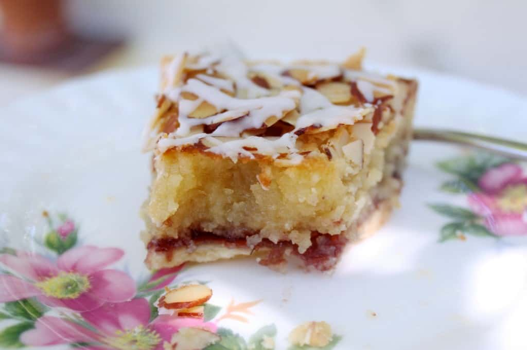 Bakewell tart slice that's been tucked into!