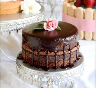 Chocolate Ganache Covered Cake with Rosebud