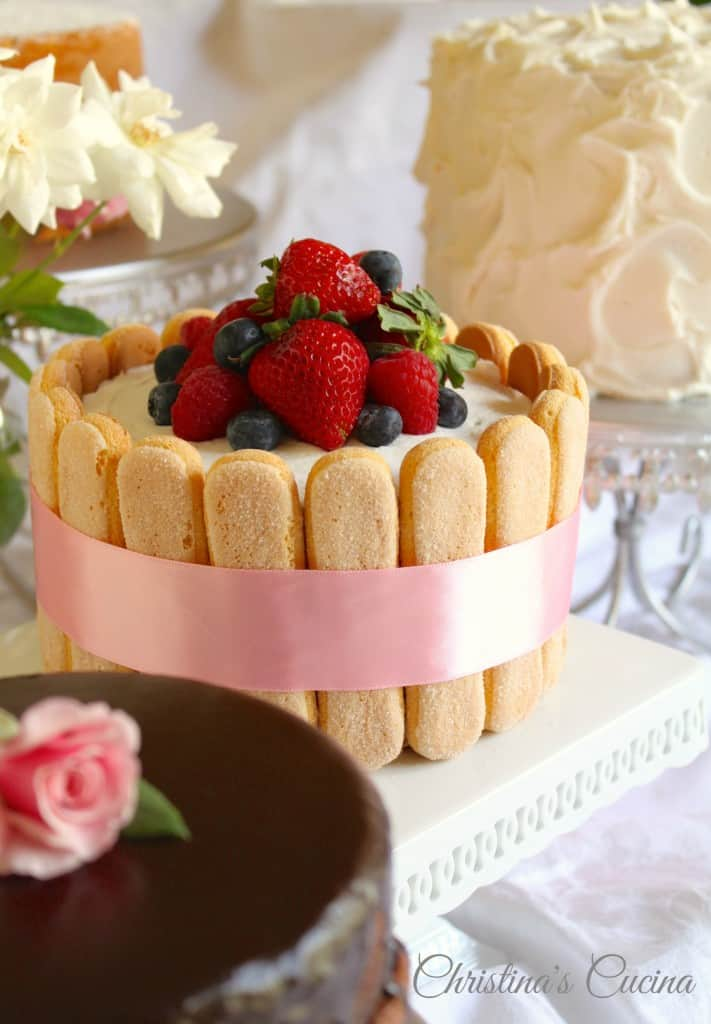 Ladyfingers and Fruit on Cake
