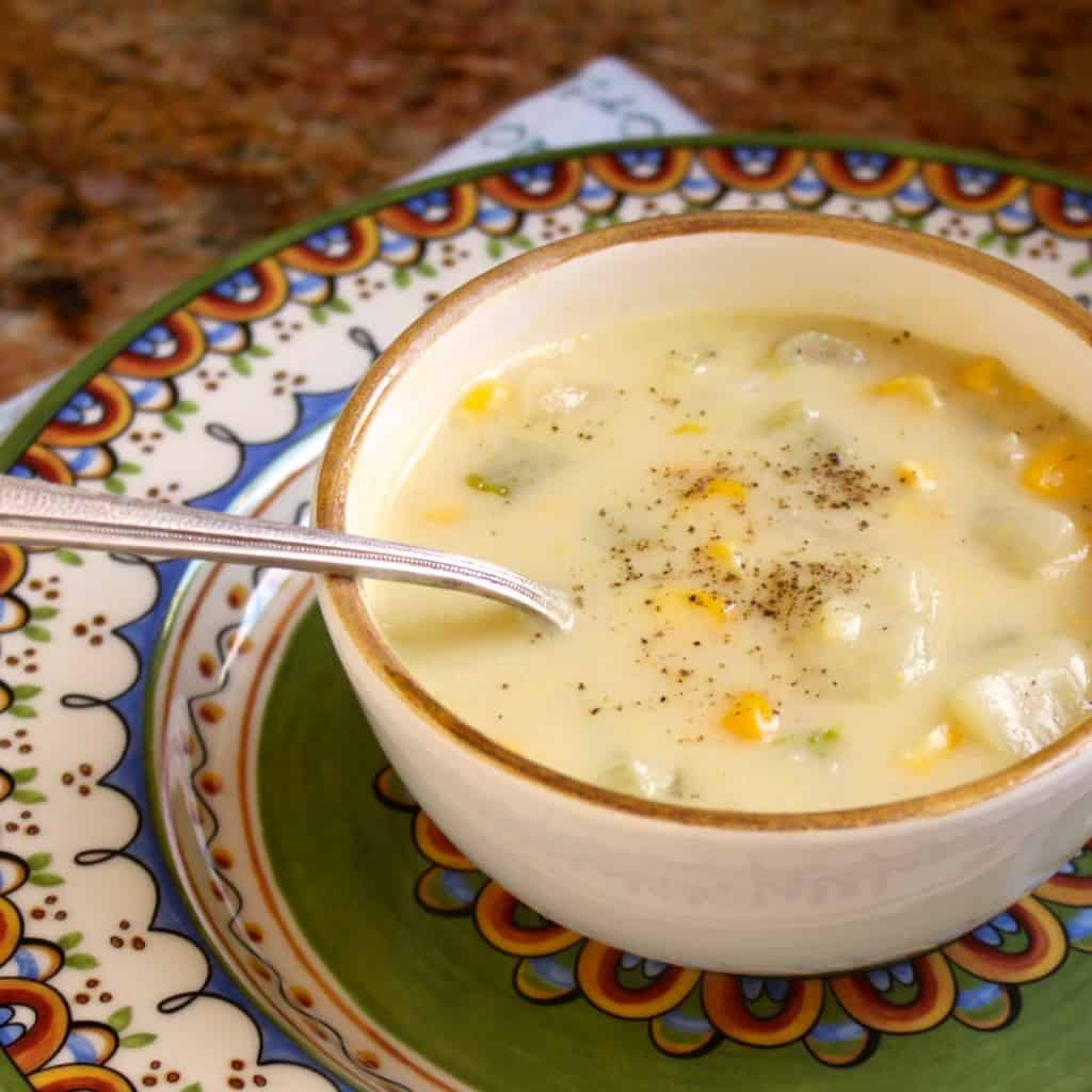 sq bowl of corn chowder