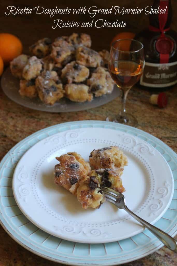 Ricotta-dougnuts-with-Grand-Marnier-soaked-raisins-and-chocolate