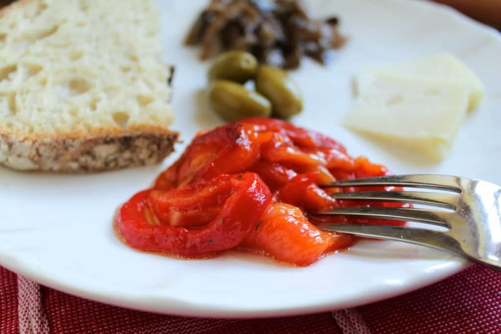 Roasted red peppers as antipasto
