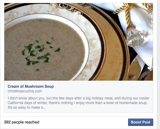 Cream of Mushroom FB post
