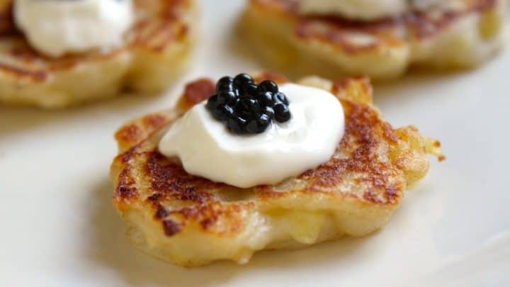 Miniature Boxty with Crème Fraîche and Truffle Caviar Appetizer