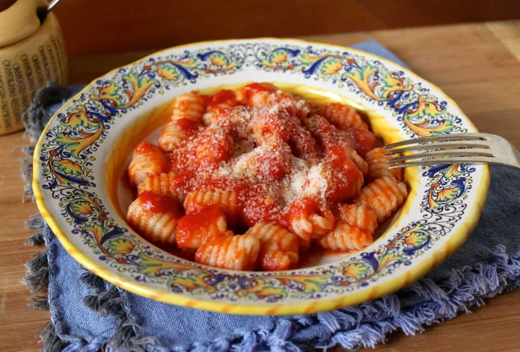 bowl of gnocchi with tomato sauce and cheese