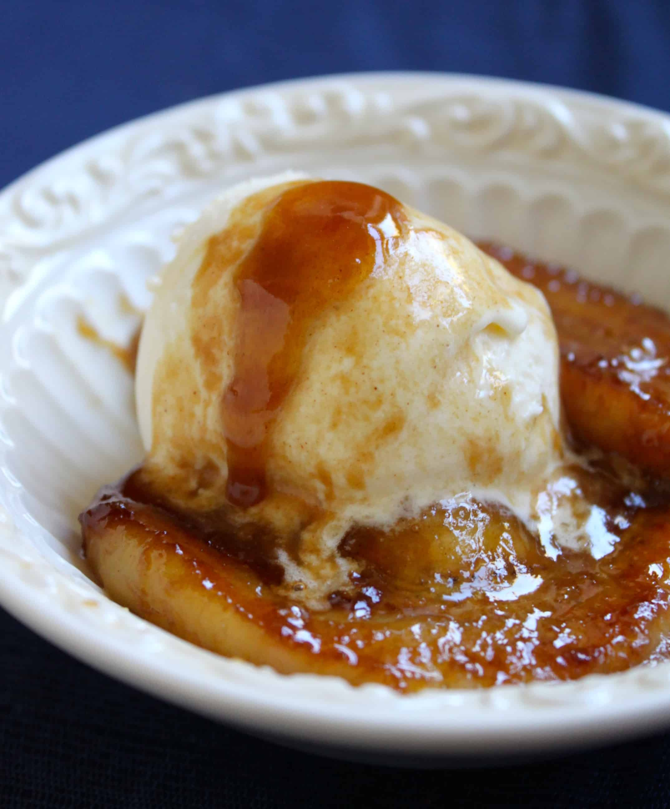 caramelized rum bananas with ice cream