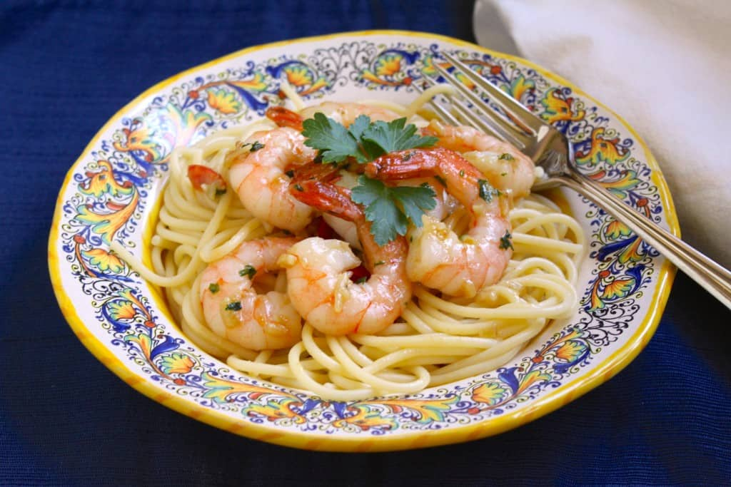 bowl of shrimp scampi