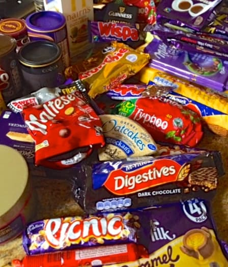 pile of british candy and chocolate