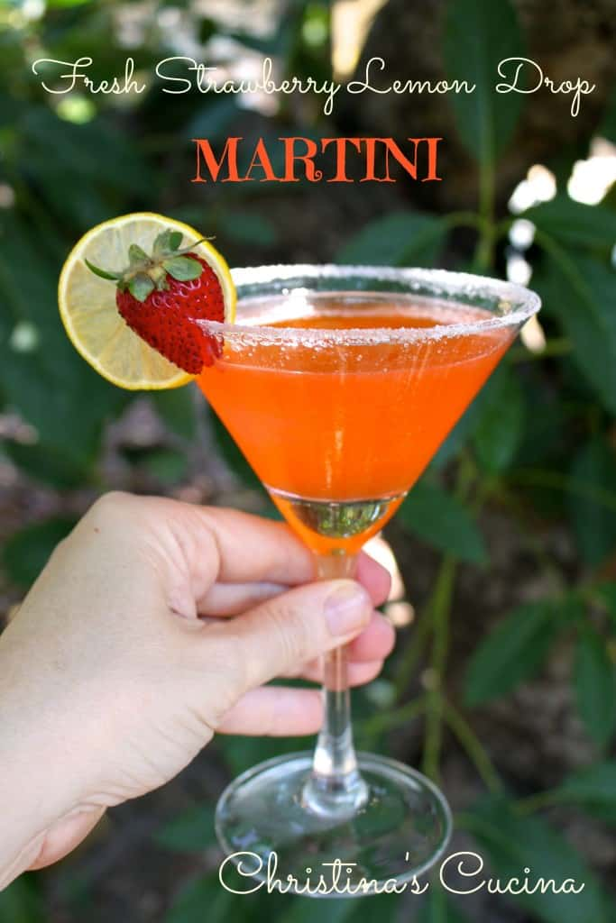 Lemon drop martini, strawberries, lemons