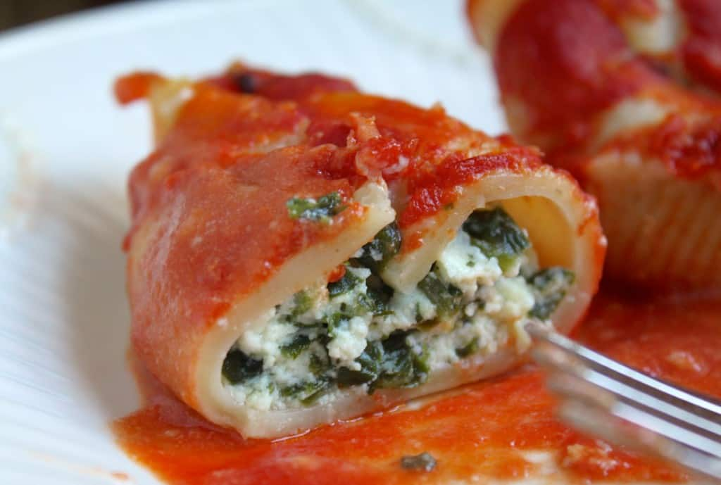 Half of a Ricotta and Spinach stuffed shell
