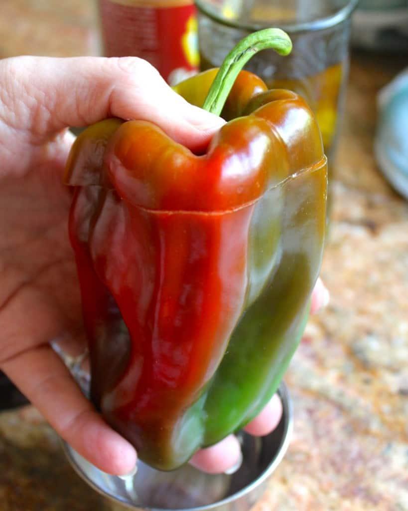 shaking inside out pepper salad dressing