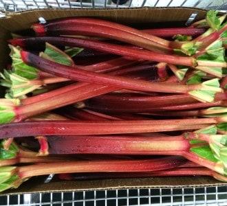 box of rhubarb stalks