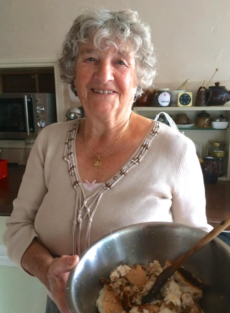 Aunt Rosa making Bread Pudding
