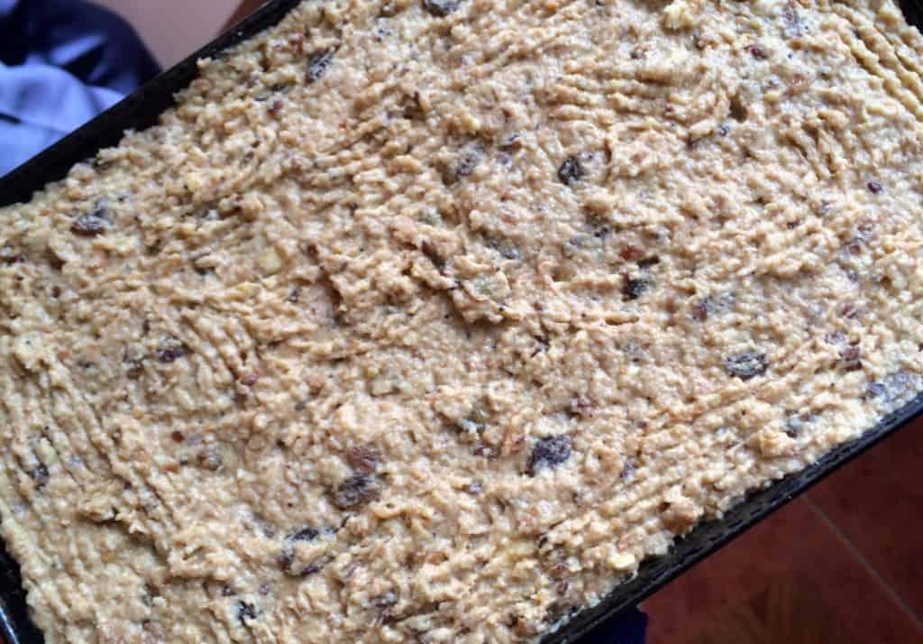 press bread pudding into pan