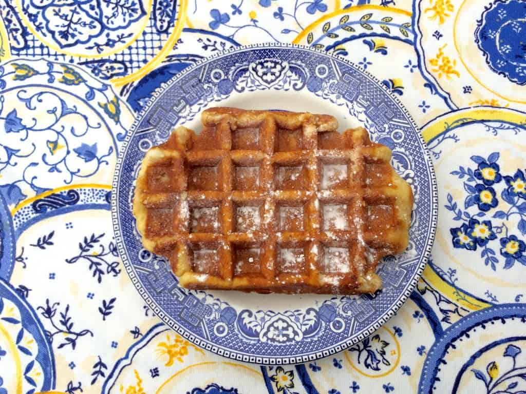 Belgian waffle dusted in sugar