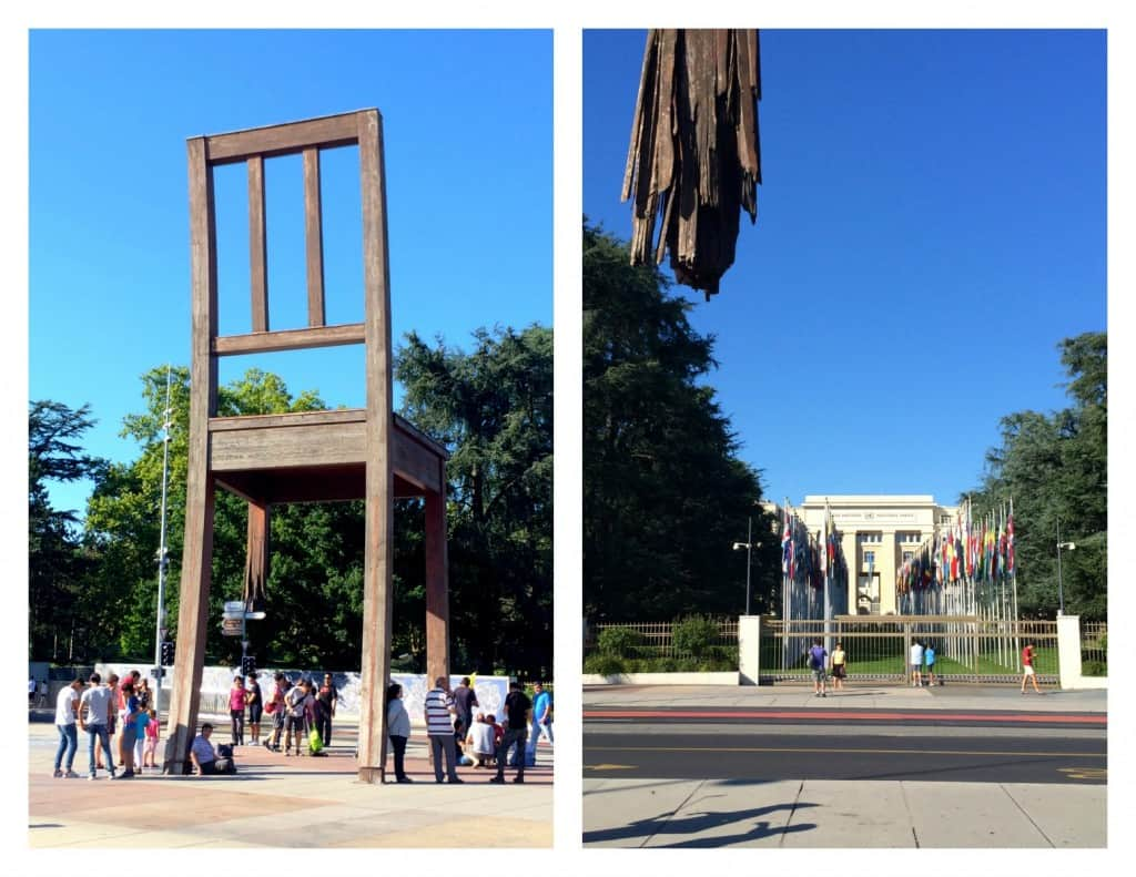 Broken Chair and UN building