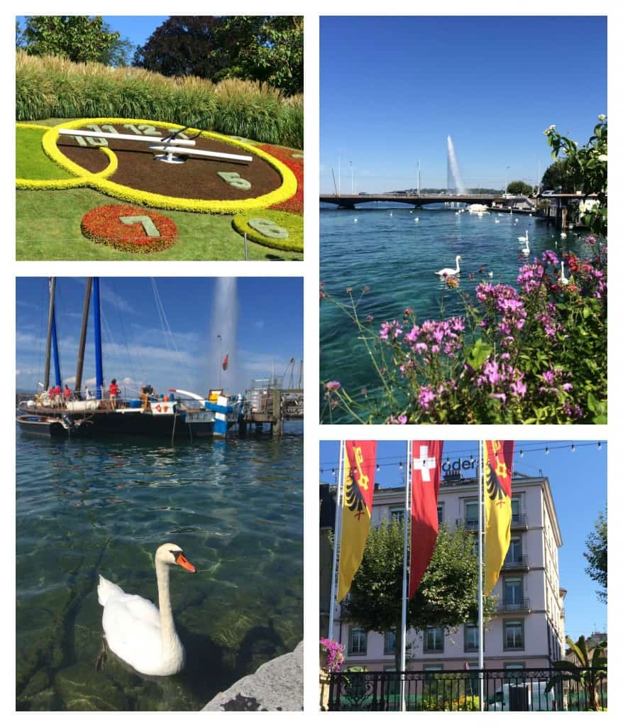 Flower Clock and Lake Geneva waterfront