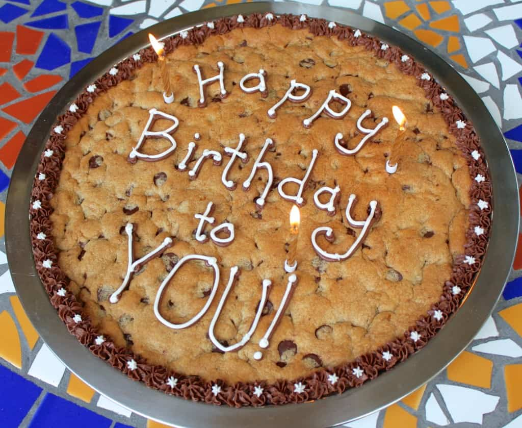 Candles on birthday cookie