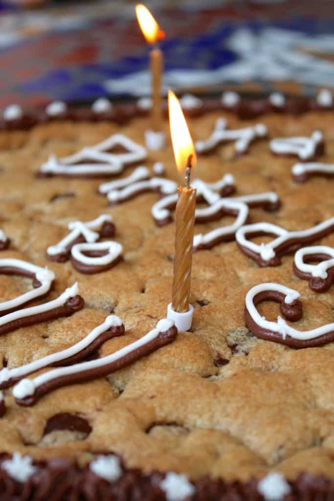 Candle on birthday cookie