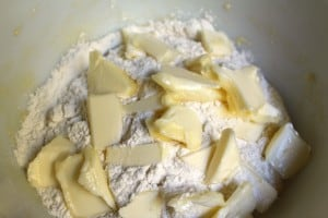 Flour and butter on dough for Belgian Waffles