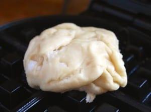 dough on waffle iron
